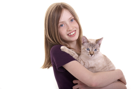 A girl holds her cat in the arms Stock Photo