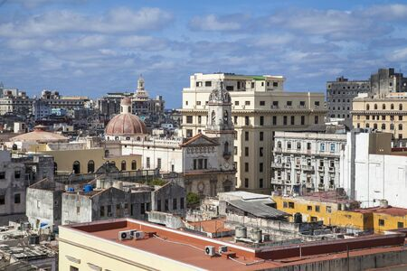 Havana, Cuba - 22 January 2013: Views of town center of squares and streets. A view over the roofs of the city on the streets and squares.