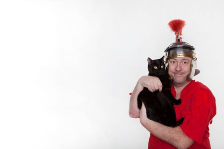 A roman soldier with a black cat on the white background.