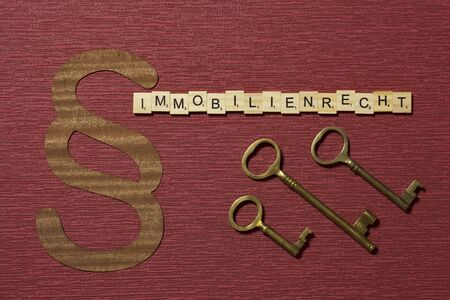 The sign paragraph on the claret color background. Its on the table. Word in german Immobilienrecht