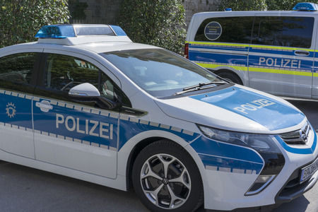 Ludwigsburg, Germany - 15 September 2019: German police car, patrol car, is standing in the street. Car brand Opel Ampera. 에디토리얼