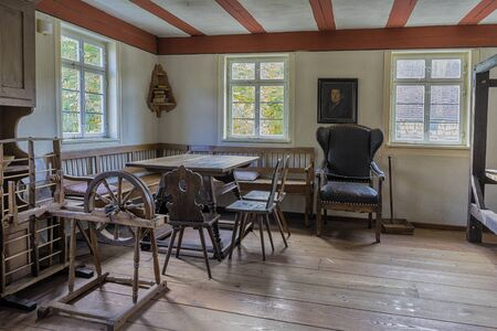 Schwaebisch Hall, Wackershofen, Germany - 15 October 2019: Interior views of a german village house. Interior view of a living room in the farmhouse