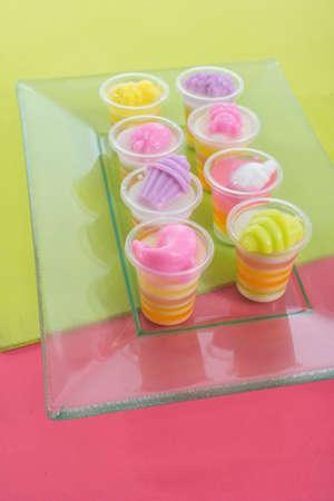 jello: Colorful jello in plastic cups Stock Photo