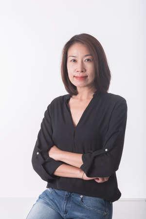 Aziatische middelbare leeftijd vrouw Stockfoto