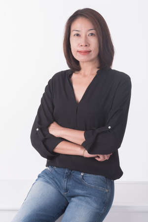 asian middle age woman Stock Photo