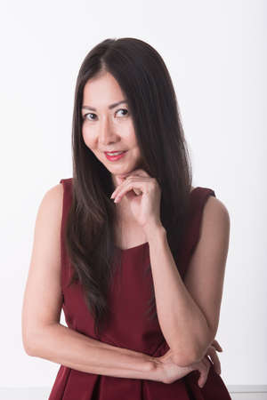 Strange Asian Middle Age Woman In Red Dress Stock Photo Picture And Short Hairstyles Gunalazisus