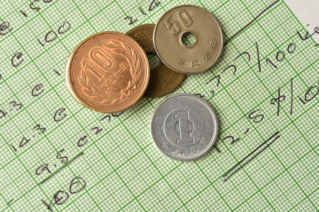hand written: japanese currency coins on paper with hand written selective focus on one yen coin