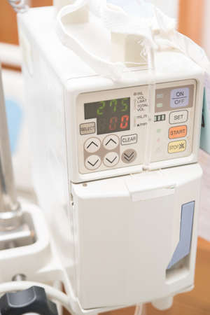 surgical oncology: Infusion pump in hospital Stock Photo