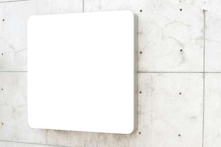 nameboard: blank white sign on wall