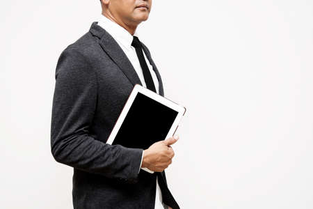 personal point of view: business man holding computer tablet