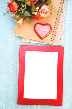 heart shaped stuff: blank frame with valentines day decoration