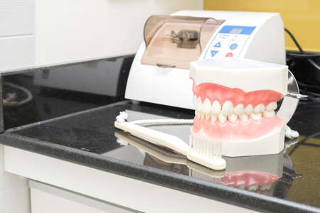 fake smile: dental study model on table