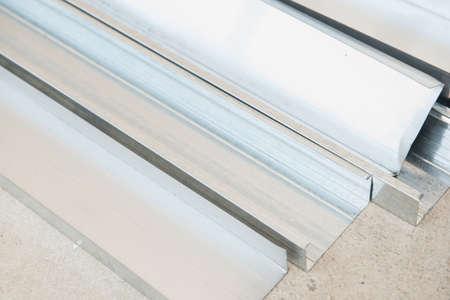 installer: close up of aluminium sheet Stock Photo