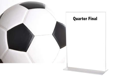 league of nations: blank white sign on football picture background with word quarter final