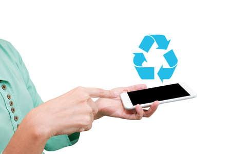recycle logo: hand hold smart phone with recycle logo