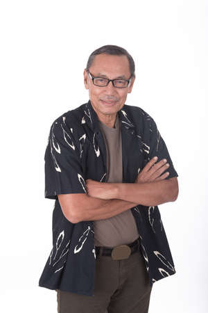 portrait of asian senior man wearing eyeglasses