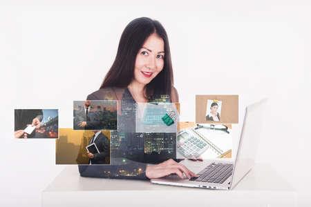computer screens: business man using computer and digital photo album