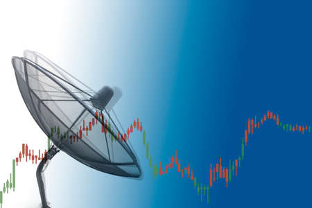 Satellite dish and forex graph
