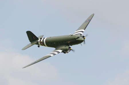 Vintage Douglas Dakota, in RAF markings in glight