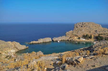 lindos: Lindos Bay, Rhodes, Greece Stock Photo