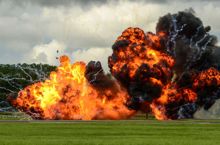 large explosion photographed at an airshow display