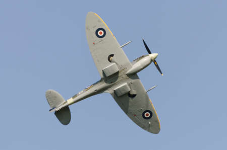Supermarine Spitfire in flight showing eliptical wing shape