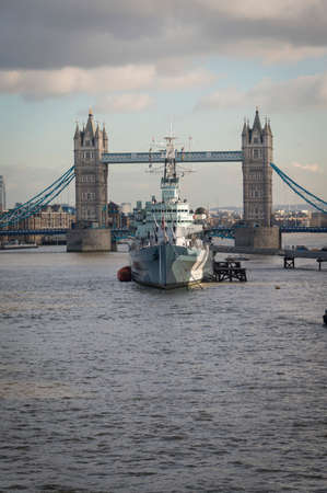 hms: Tower Bridge London, with HMS Belfast in foreground