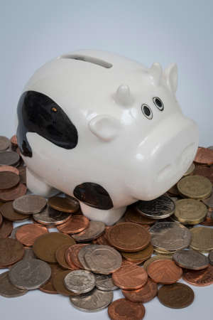 moneymaker: Porcelain cow on top of cash coins, demonstrating concept of