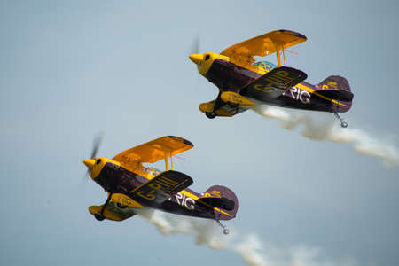 aerobatic: Trig Aerobatic team duo, displaying their Pitts Specials at Abingdon Air Show, UK, during May 2014