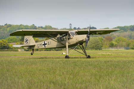 Fieseler Storch, German WW2 Recconnaissance aircraft, landing at Abingdon Airshow 2014 Editorial