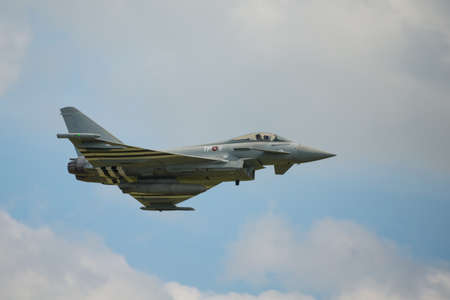 raf: Duxford, UK - 25th May 2014: RAF Typhoon at Duxford Airshow.