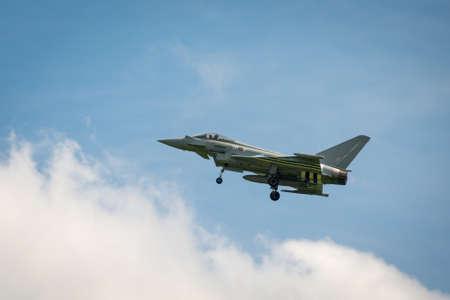 airshow: Duxford, UK - 25th May 2014: RAF Typhoon at Duxford Airshow.