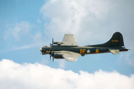 Duxford, UK - 25th May 2014: B17 Flying Fortress Memphis Belle at Duxford Airshow.