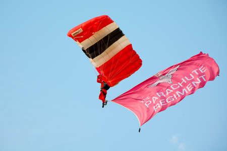 british army: Duxford, UK - 25th May 2014: British Army Parachute Regiment parachutist at Duxford Airshow.
