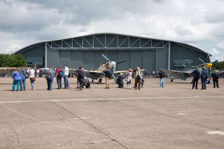 Duxford, UK - 25th May 2014: Line up of German aircraft, at Duxford Airshow. Editorial