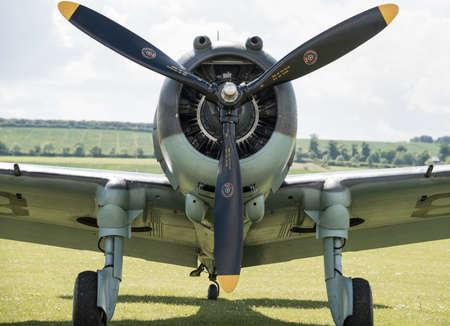 airshow: Duxford, UK - 25th May 2014:  WW2 US Curtiss Hawk at Duxford Airshow.