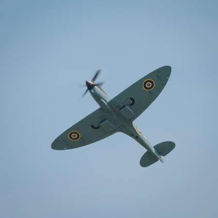 Abingdon, UK - May 4th 2014: A vintage World War Two, British Supermarine Spitfire  in flight.