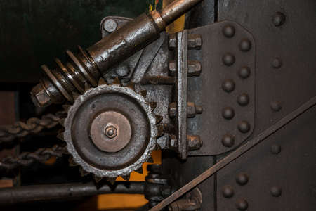 traction engine: Vintage steering gear wheels on traction engine Stock Photo