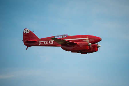 shuttleworth: Biggleswade UK - 5th October, 2014: De Havilland DH88 Vintage Comet racing aircraft at the Shuttleworth Collection airshow Editorial