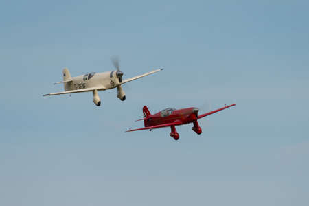 shuttleworth: Biggleswade UK - 5th October, 2014: pair of Percival Mew Gulls, vintage racing aircraft at the Shuttleworth Collection airshow