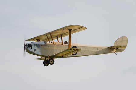 Biggleswade UK - 5th October, 2014:  Hawker Cygnet vintage biplane at the Shuttleworth Collection airshow Editorial