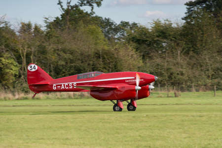 Biggleswade UK - 5th October, 2014: De Havilland DH88 Vintage Comet racing aircraft at the Shuttleworth Collection airshow Editorial