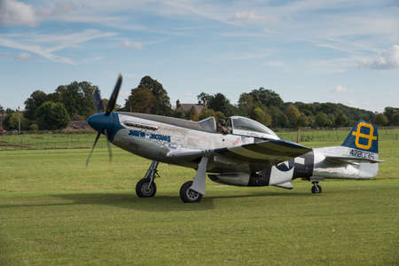 Biggleswade UK - 5th October, 2014: North American P51D Mustang WW2 fighter aircraft at the Shuttleworth Collection airshow