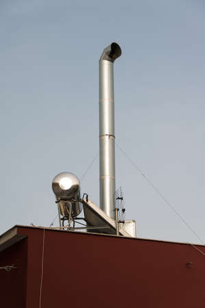 Exterior view of Greek solar water heating system photo