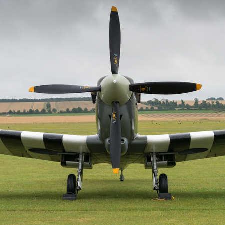 Duxford, UK - 13 July 2014: World War 2 vintage British Spitfire fighter plane at Duxford Flying Legends Airshow