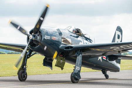 bearcat: Duxford,UK - 13 July 2014: Vintage Grumman Bearcat at Duxford Flying Legends Airshow