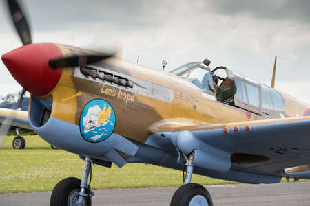 airshow: Duxford,UK - 13 July 2014: Vintage Curtiss P40 Warhawk at Duxford Flying Legends Airshow