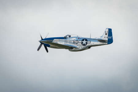 Duxford,UK - 13 July 2014: P51 Mustang at Duxford Flying Legends Airshow