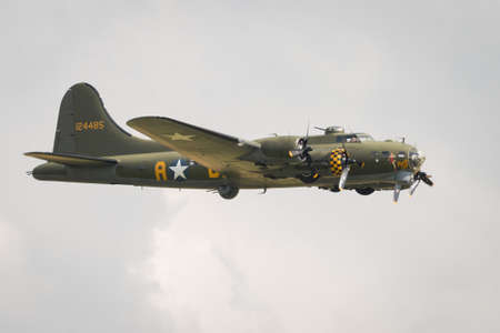 united states air force: Duxford,UK - 13 July 2014: B17 Flying Fortress at Duxford Flying Legends Airshow
