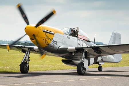 Duxford,UK - 13 July 2014: North American P51 Mustang at Duxford Flying Legends Airshow